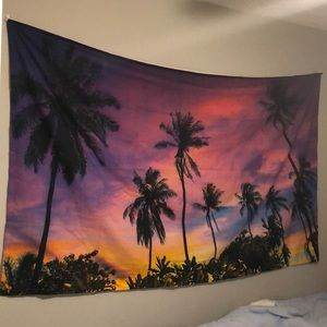 Tapestry palm tree sunset